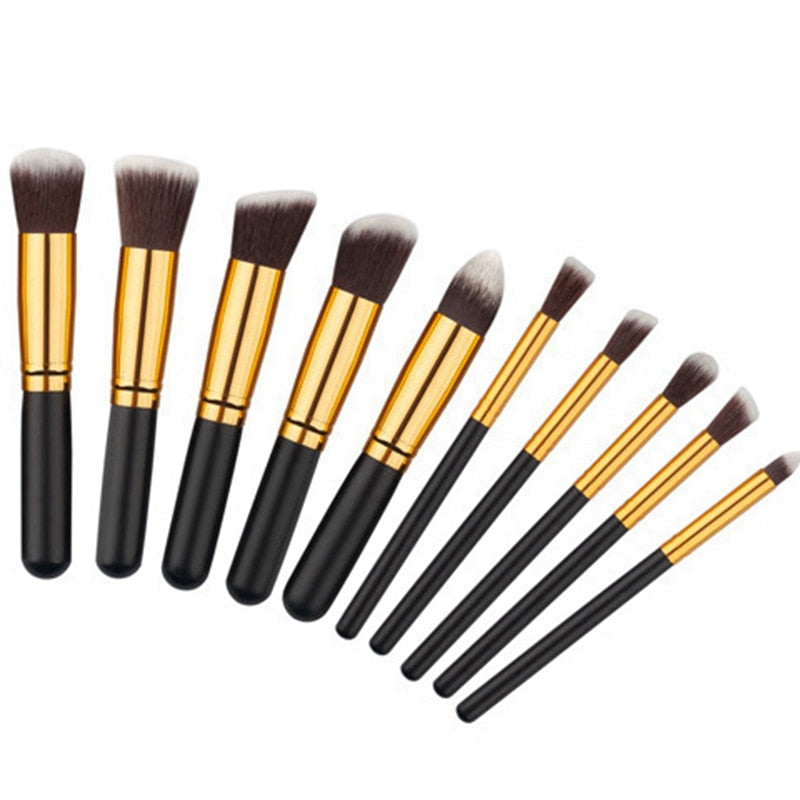 10 Pieces Rainbow Makeup Brushes Set - Toyzor.com