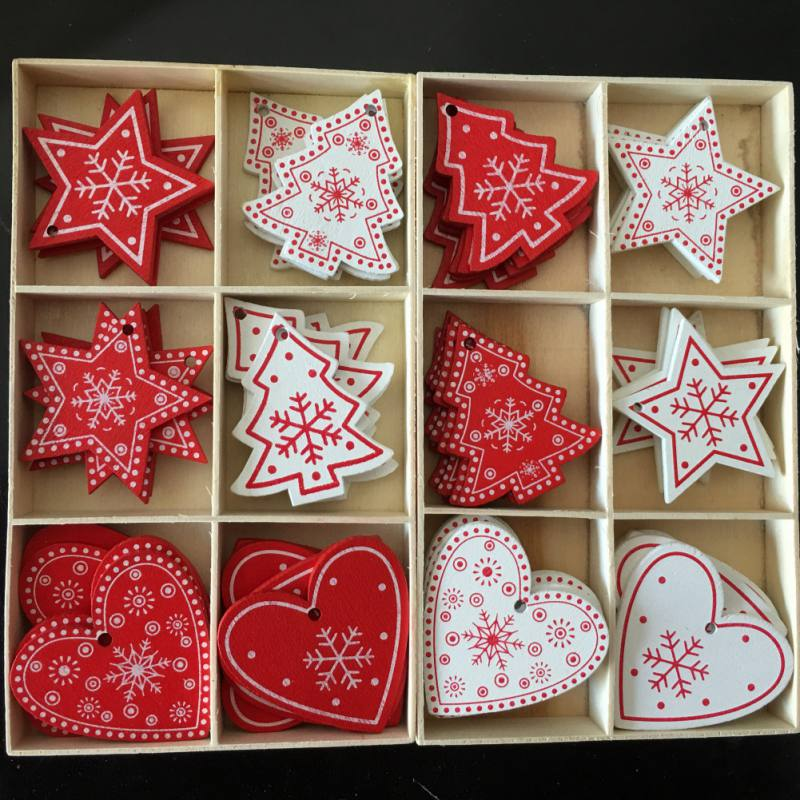 10pcs/set White Red Christmas Tree Ornament Wooden Hanging Pendants Angel Snow Bell Elk Star Christmas Decorations for Home