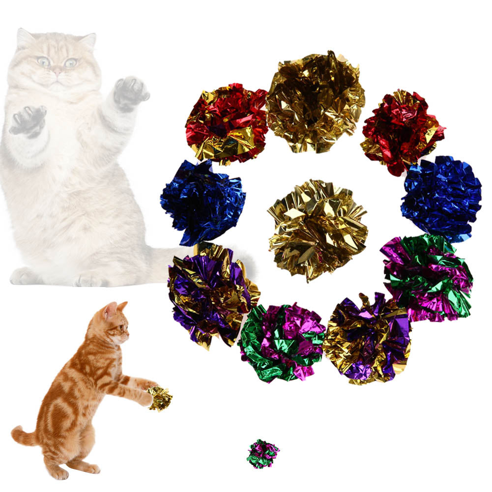 12Pcs Cat Toys Multi color Mylar Crinkle Ball Ring Paper Sound Toy for Cat - Toyzor.com