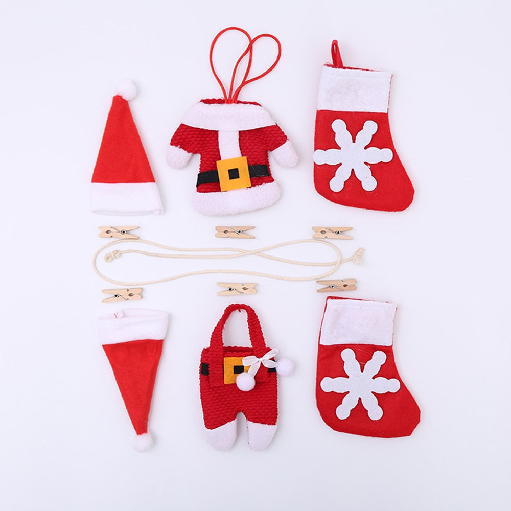 13pcs Pull Flag Lucky Small Hat/Clothes Pants/Socks Pattern Design Christmas Decor For Home & School