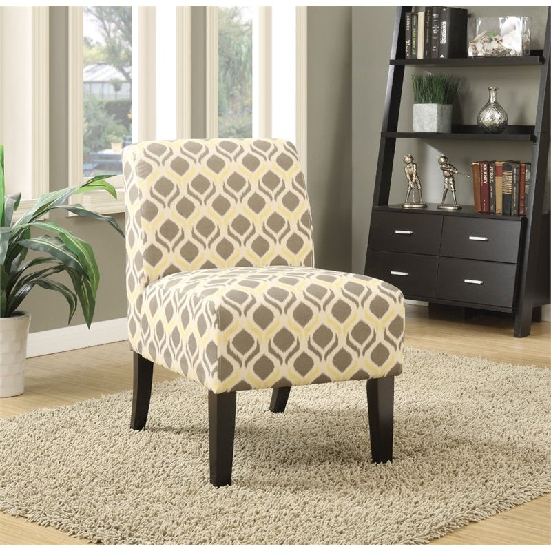 Armless Accent Chair in Gray and Yellow