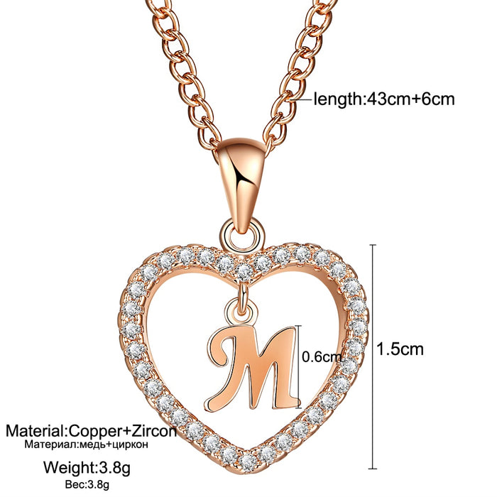 Rose Gold Sliver Heart Necklace Statement Jewelry Gifts
