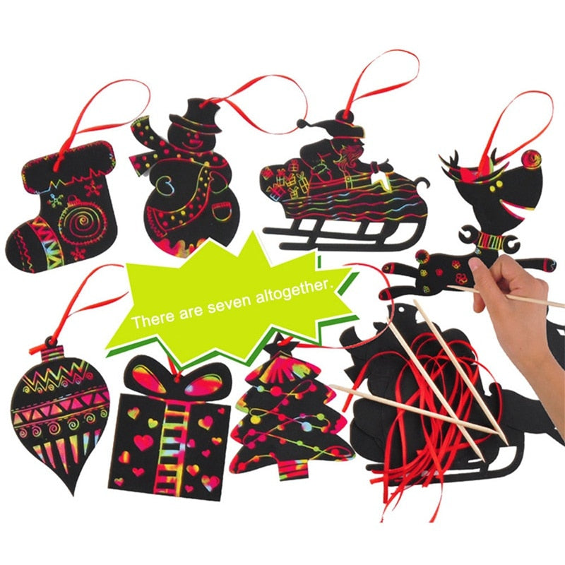 17pcs Magic Color Scratch Card Christmas Tree Ornaments