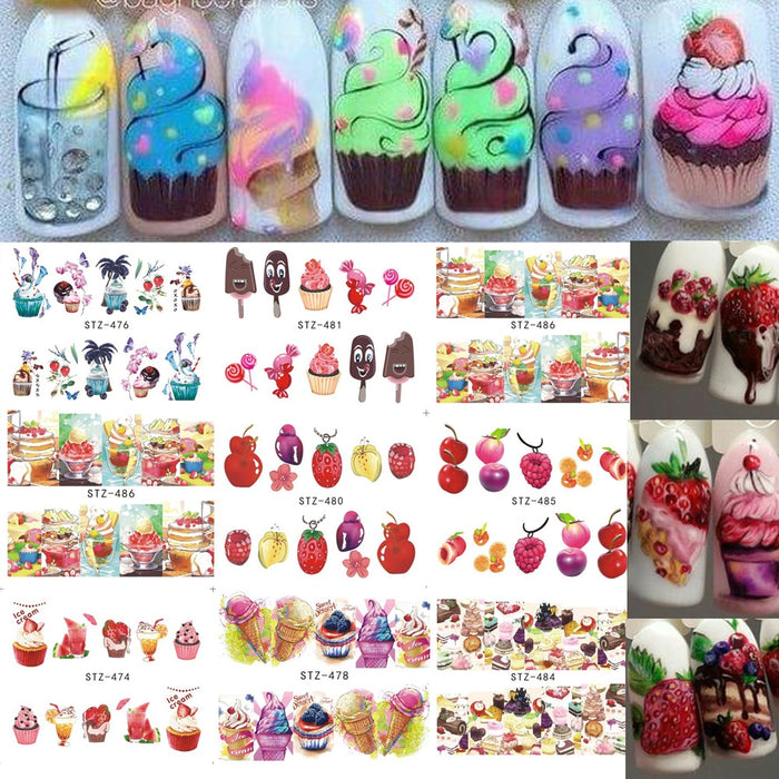 18 PCS Hot Cake/Ice Cream Mixed Colorful Designs Nail Sticker - Toyzor.com