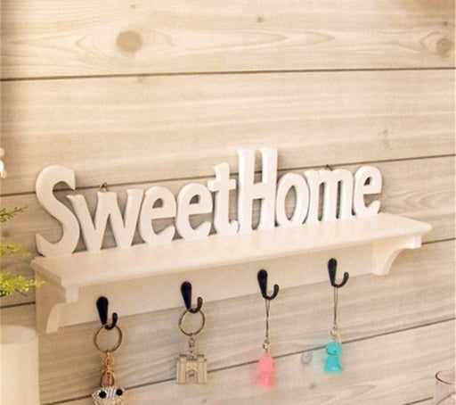 """Sweet Home"" Shelves Hat Key Holders 4 Hooks"