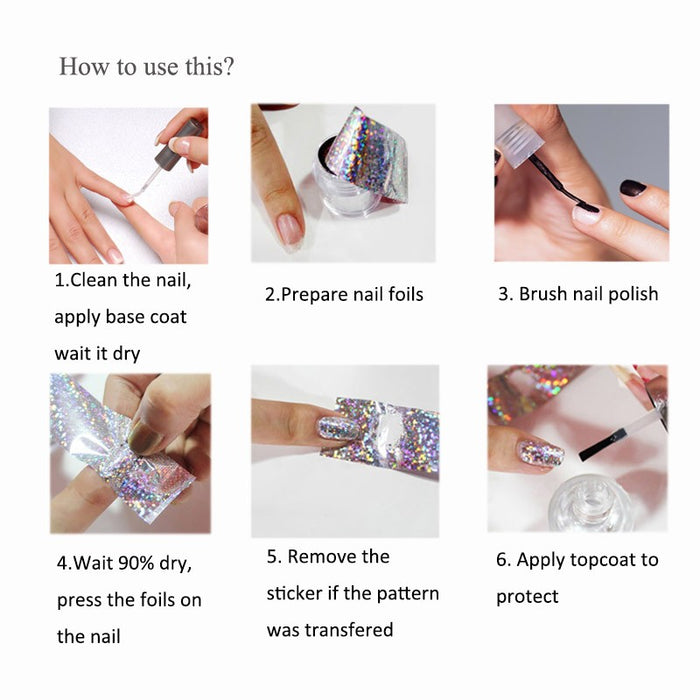 1 PC Marble Pattern Holo Nail Art Stickers - Toyzor.com