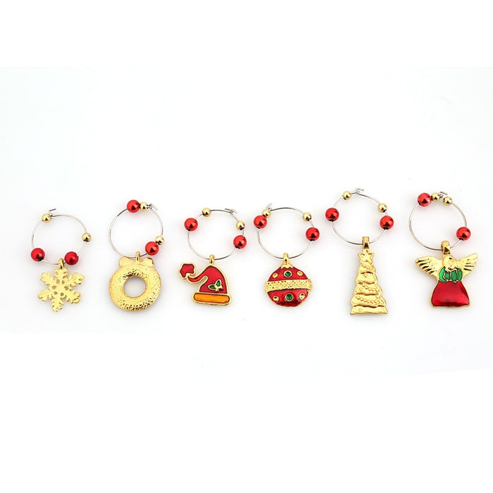 1 Set Christmas Wine Glass Cup ring Decoration