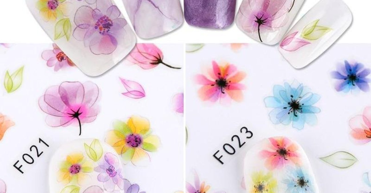 1 PC Gradient 3D Flower Nail Art Decals - Toyzor.com