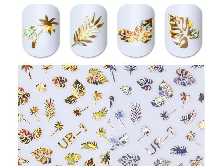 1pc 3D Holographic Gold Metallic Nail Art Stickers - Toyzor.com