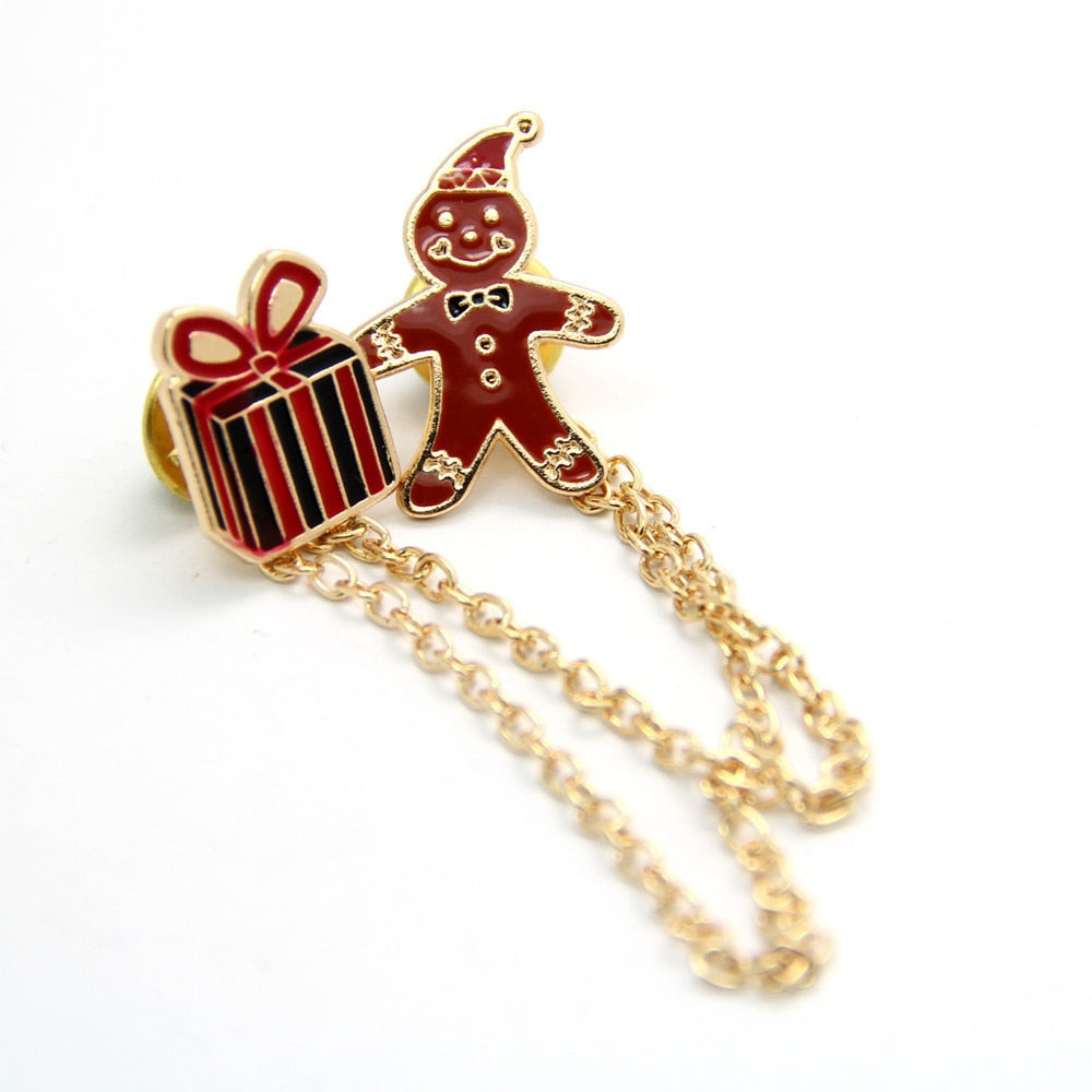 Fashion Christmas Decoration Box With Alloy Rhinestone Holiday Brooch Pin Christmas Ornaments