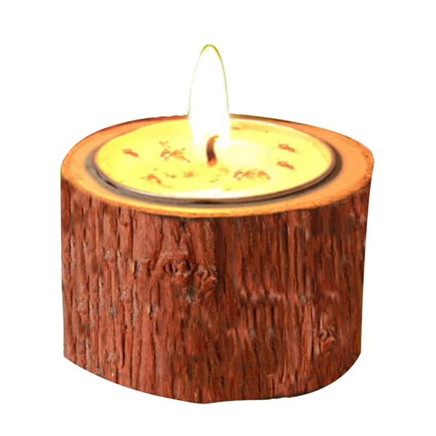 Vintage Wood Tea Light Candlelight Holders Dinner Table Decor