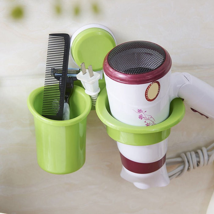 Innovative Design Wall-Mounted Suction Cup Hair Dryer Holder Comb Rack Stand Set Plastic Bathroom Storage