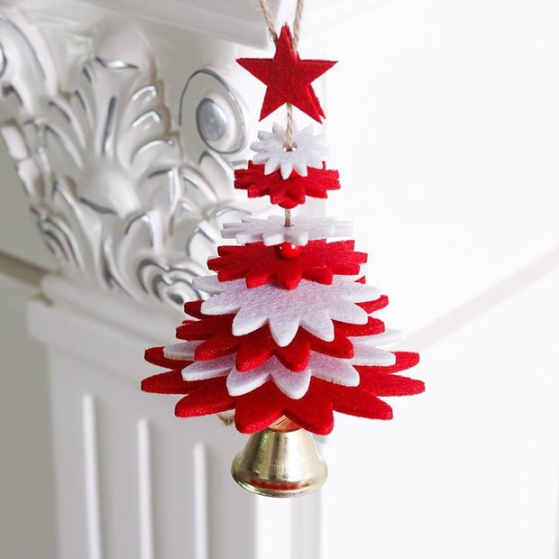 DIY Door Hanging Ornaments Mini Christmas Tree Bell Pendant