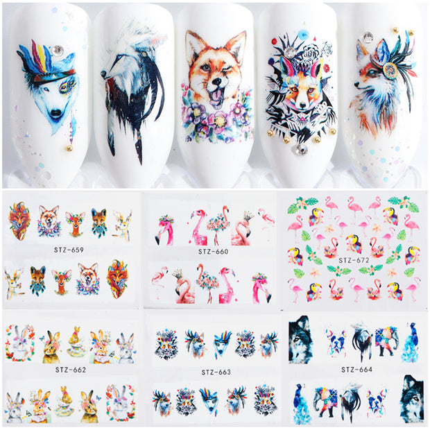 1 PC Cute Flamingo/Animal Designs Nail Art - Toyzor.com