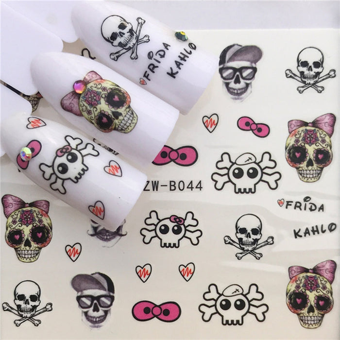 1 PC Skull and Flowers Nail Art Decals - Toyzor.com
