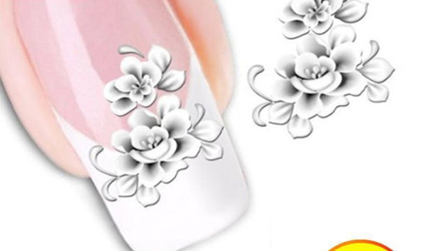 1 PC White Flower Nail Art Decals - Toyzor.com