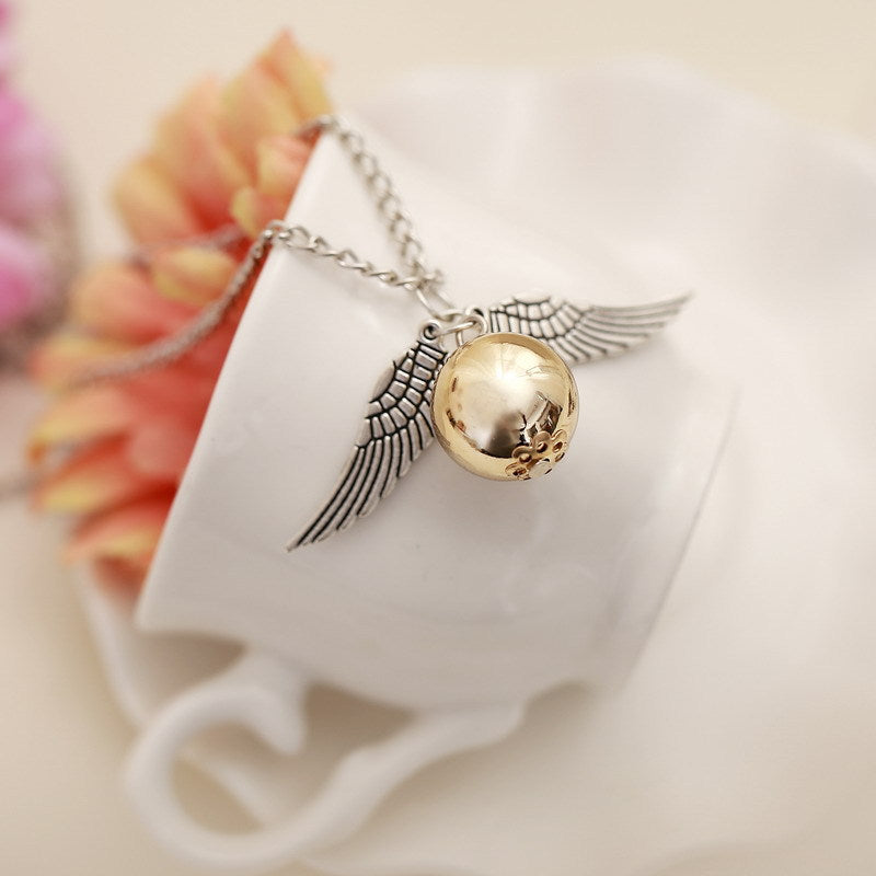 Retro Style Crystal Angel Wing Charm Golden Doraemon Necklace