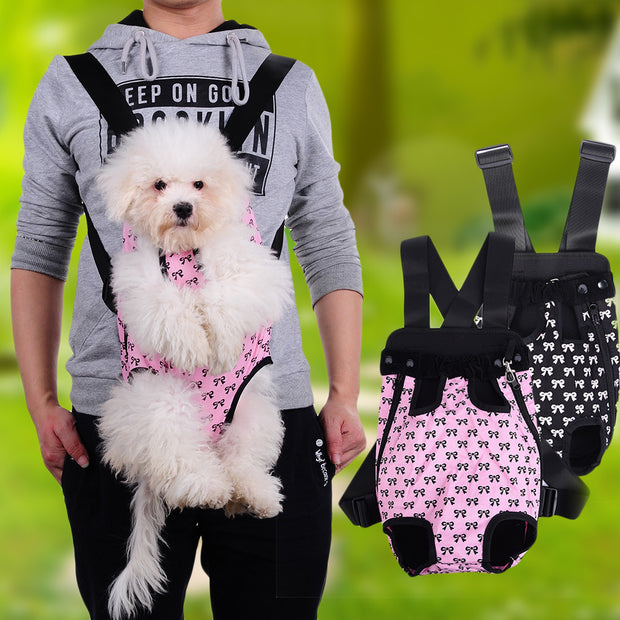 Front Carrier Outdoor Backpack Bag With Cute Bowknot Pattern Pet Support