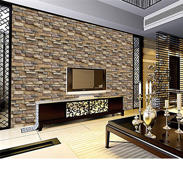 3D Wall Paper Brick Stone Rustic Effect Self-adhesive Wall Sticker Home Decoration