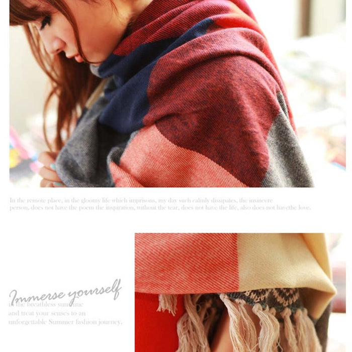 Female Wool Plaid Cashmere  Scarf - Multiple Colors - Toyzor.com