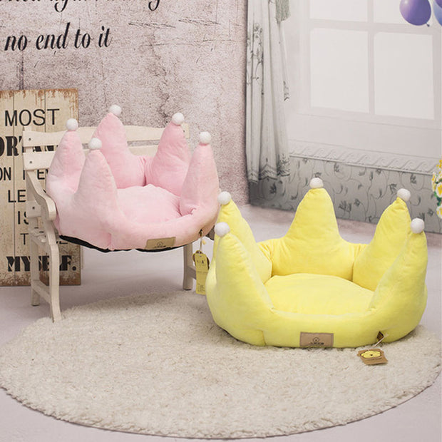 Crown Pet Kennels Nest Soft Cotton Puppy Cat Bed Cushion Princess Style