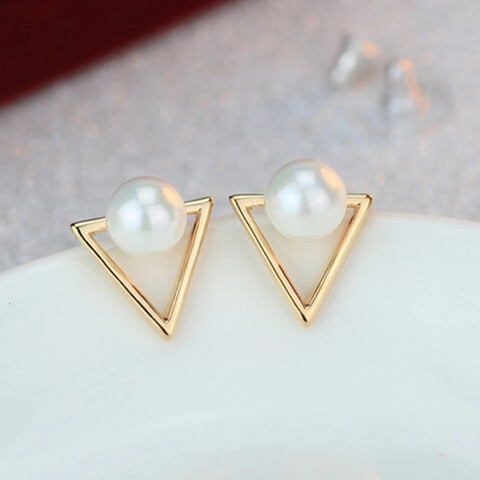 Geometric Triangle  Pearl Stud Earrings For Women