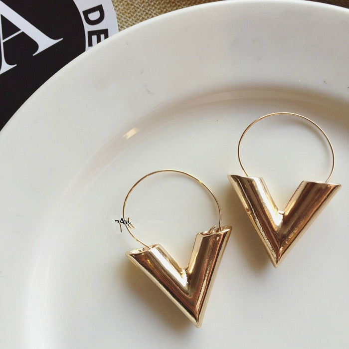 Simple Metal Wind Letter V Shape Stud Earrings