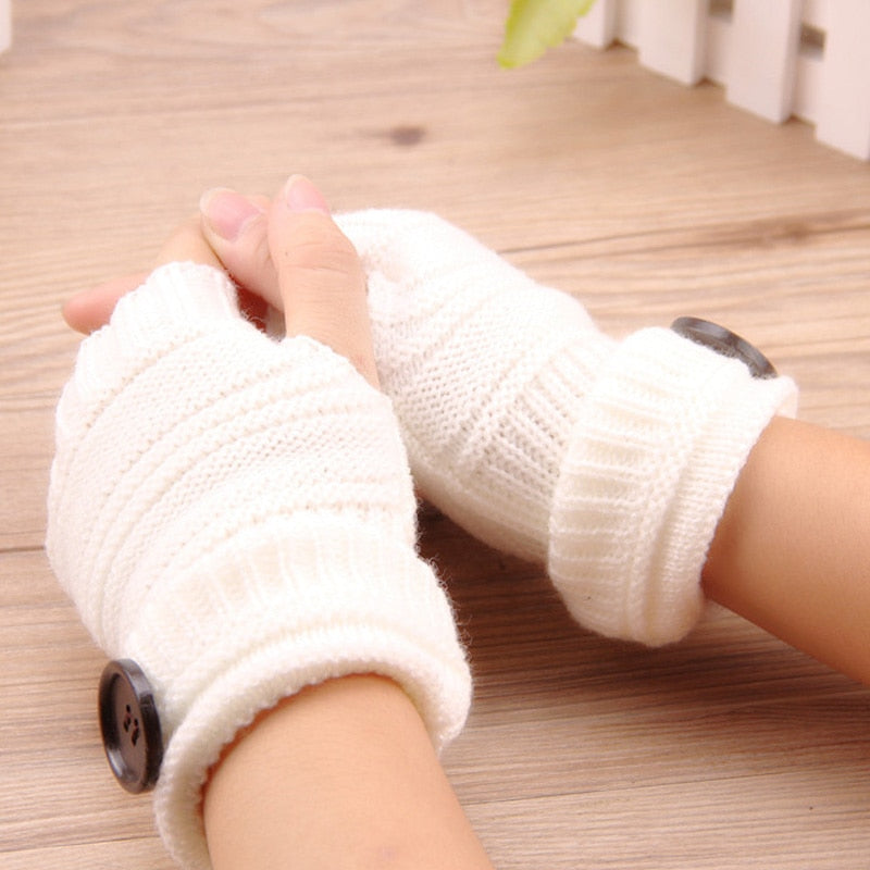 Ladies Knitted Warmer Gloves