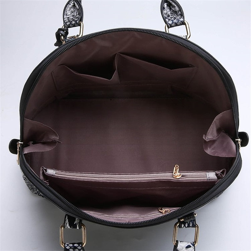 2018 New Autumn Serpentine Large Capacity Casual Totes Luxury Vintage Women Purse and Handbag