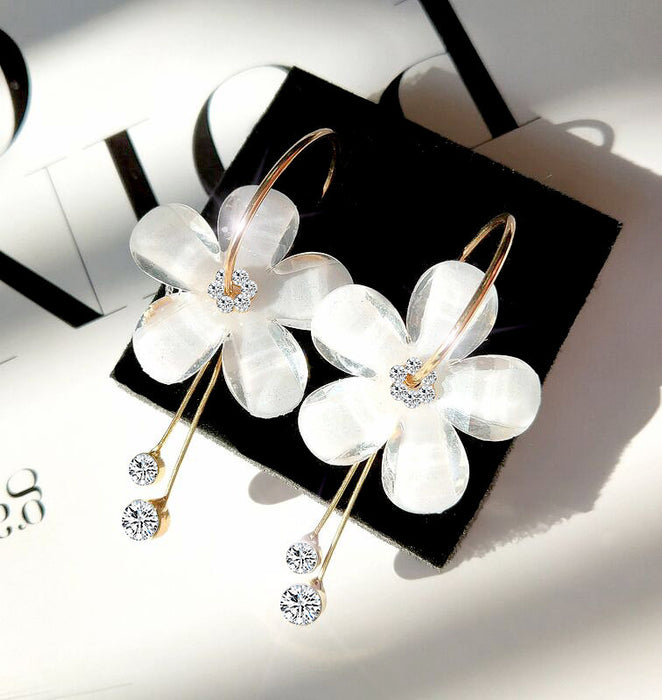 Korean 6 Petal Acrylic Zircon Tassel Earrings