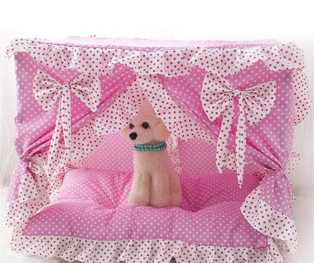 Dog House /Cat House Soft Winter Cute Princess Bow Bed Cave Cute Kennel Nest Dog/Cat Bed with Curtain