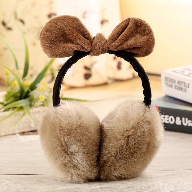 Bowknot Faux Fur Fluffy Winter Soft Ear Cache Warmers