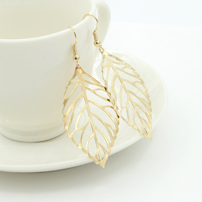 Metal Leaves Dangling Long Earrings