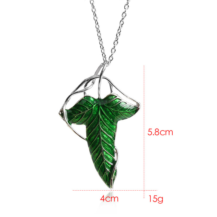 The Hobbit Vintage Elf Green leaf necklace