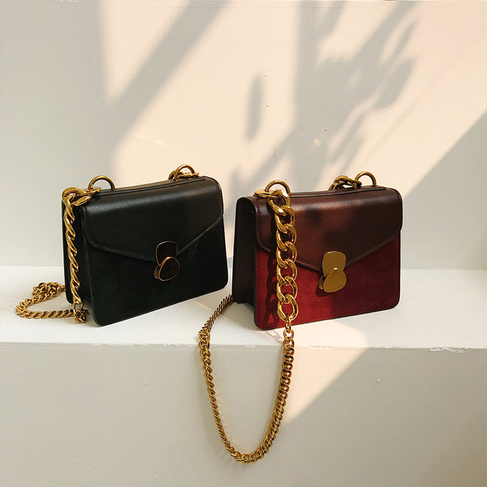 2018 Winter Brand Women Bag Hit Color Chain Shoulder Bag PU Leather  Handbag