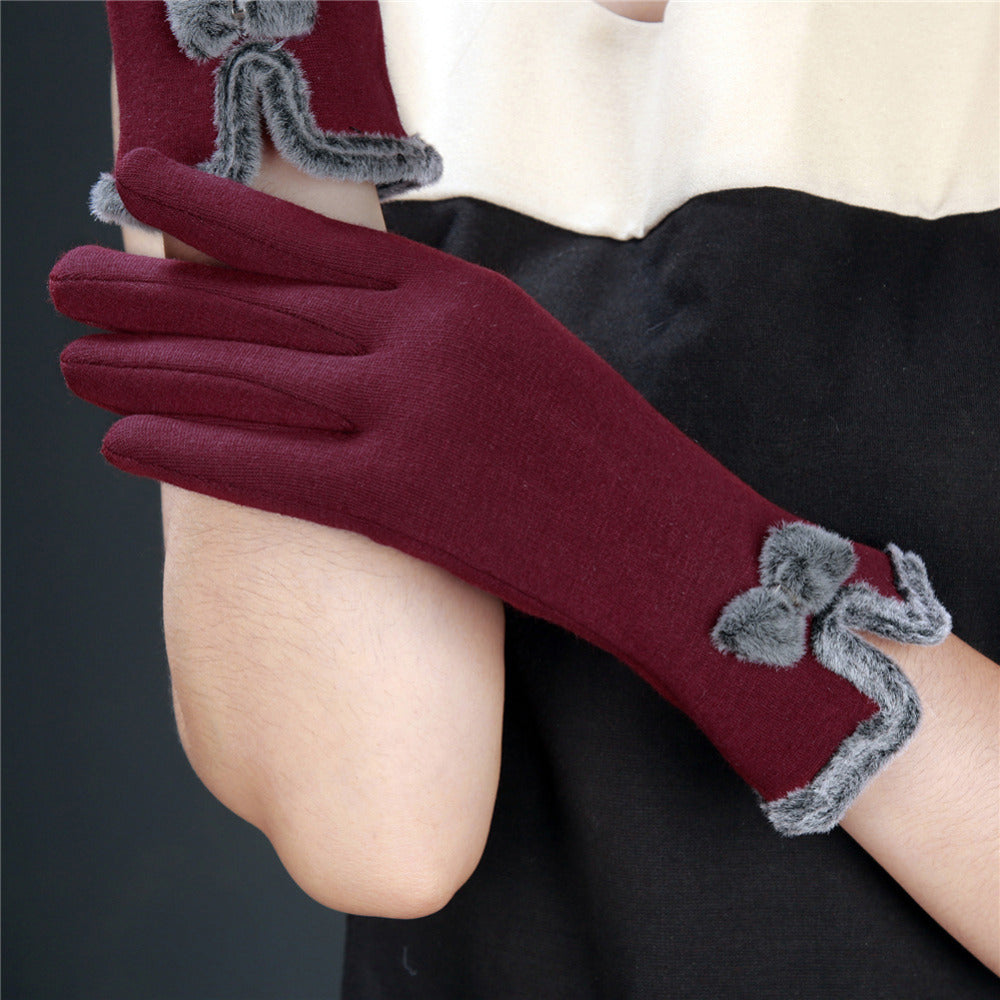 Newest Sheep Wool Bow-knot Gloves