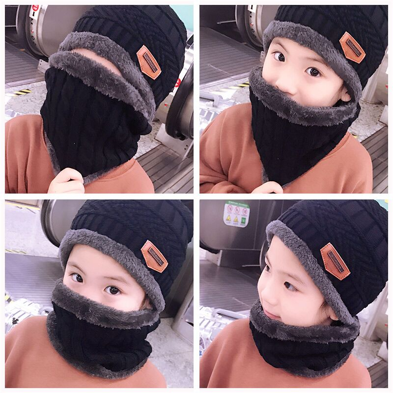 Kids 2pcs warm Winter Beanies Knitted Hat and scarf – Toyzor 80bbbc5f61b8
