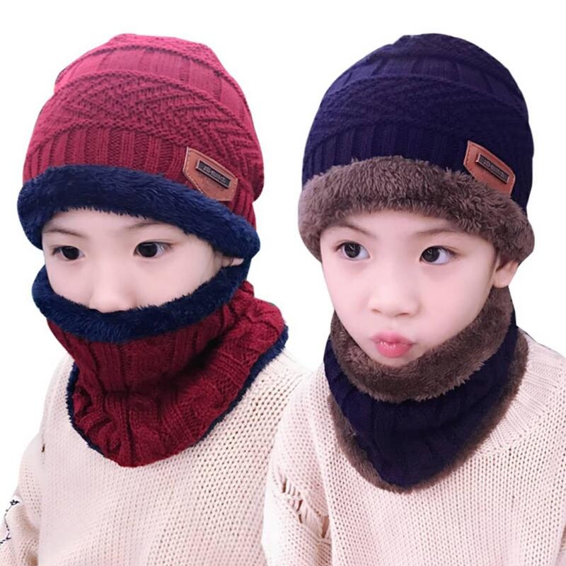 Kids 2pcs warm Winter Beanies Knitted Hat and scarf - Toyzor.com