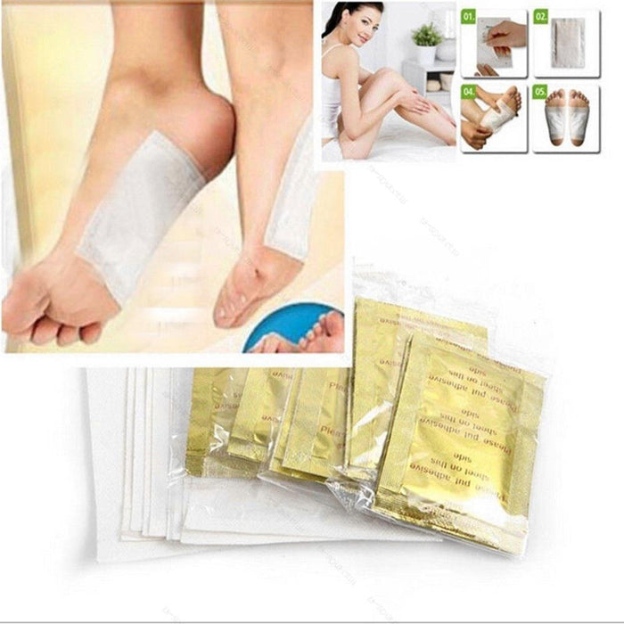 20 Pieces Detox Foot Gold Patches Herbal Health Care Foot Care Tool - Toyzor.com
