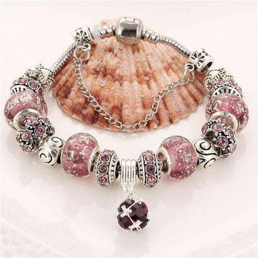 Vintage DIY Crystal Glass Beads Charms - BJ089red