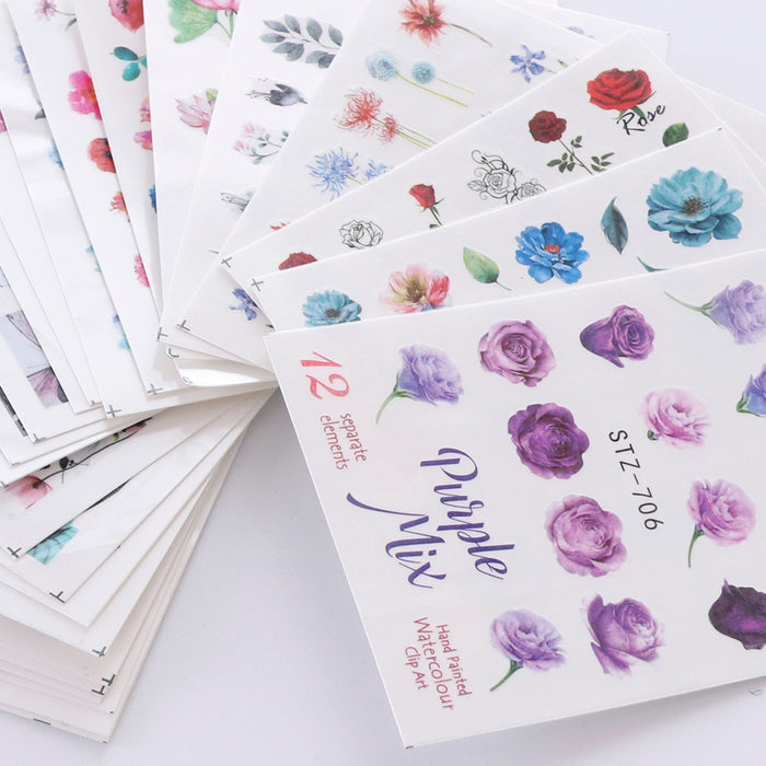 24 PCS Watercolor Floral Flower Sticker Nail Decals - Toyzor.com