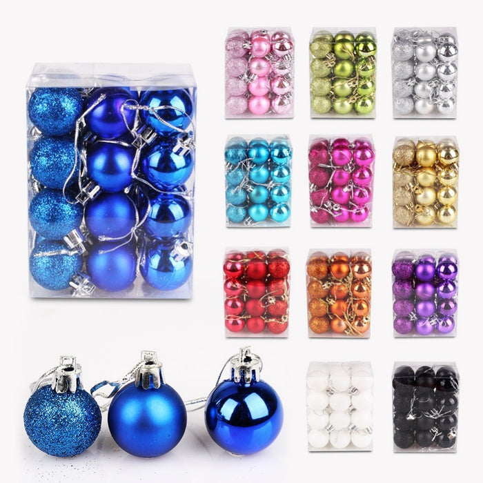 24pcs/lot 30mm Christmas Tree Decor Ball Bauble Hanging Christmas Party Ornament