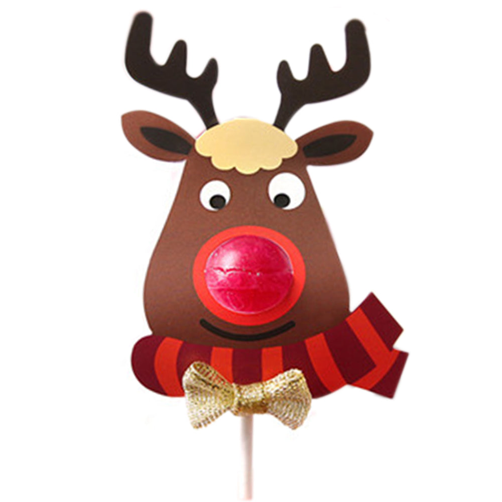 25pcs/set Lovely Elk Lollipop Christmas Paper Card