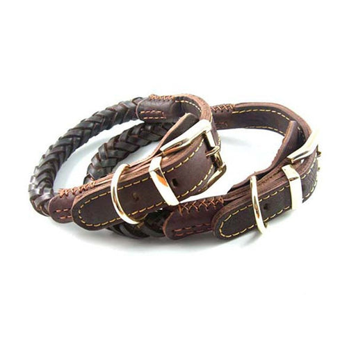 Genuine Leather Braided Dog Collar with Golden Metal Buckle Best Choice for Medium and Large Dogs