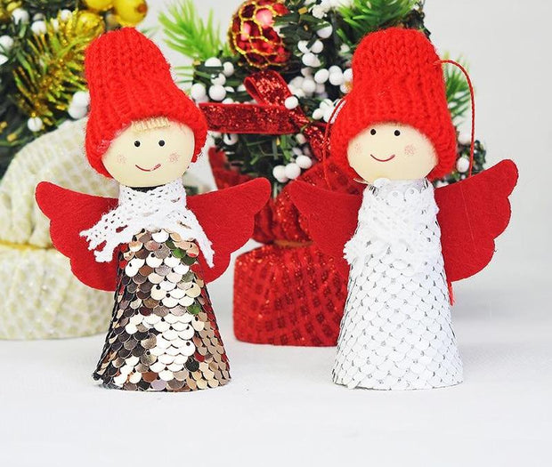 2PCS New Cute Angel Snowman Christmas Ornament