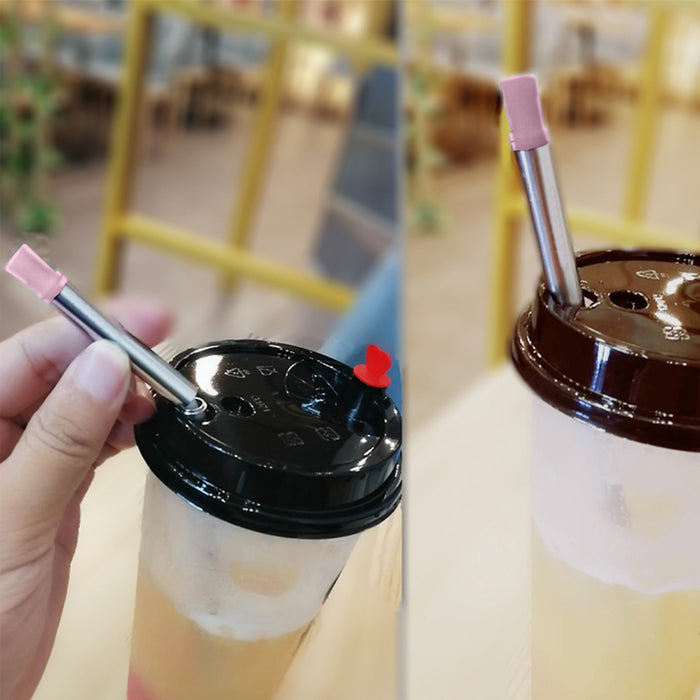 3 Pcs /set Collapsible Stainless Steel Metal folding Drinking Straw Reusable