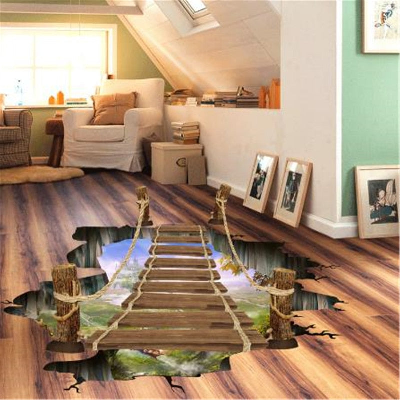 3D Flooring Wallpapers Removable PVC Self Adhesive Wallpaper