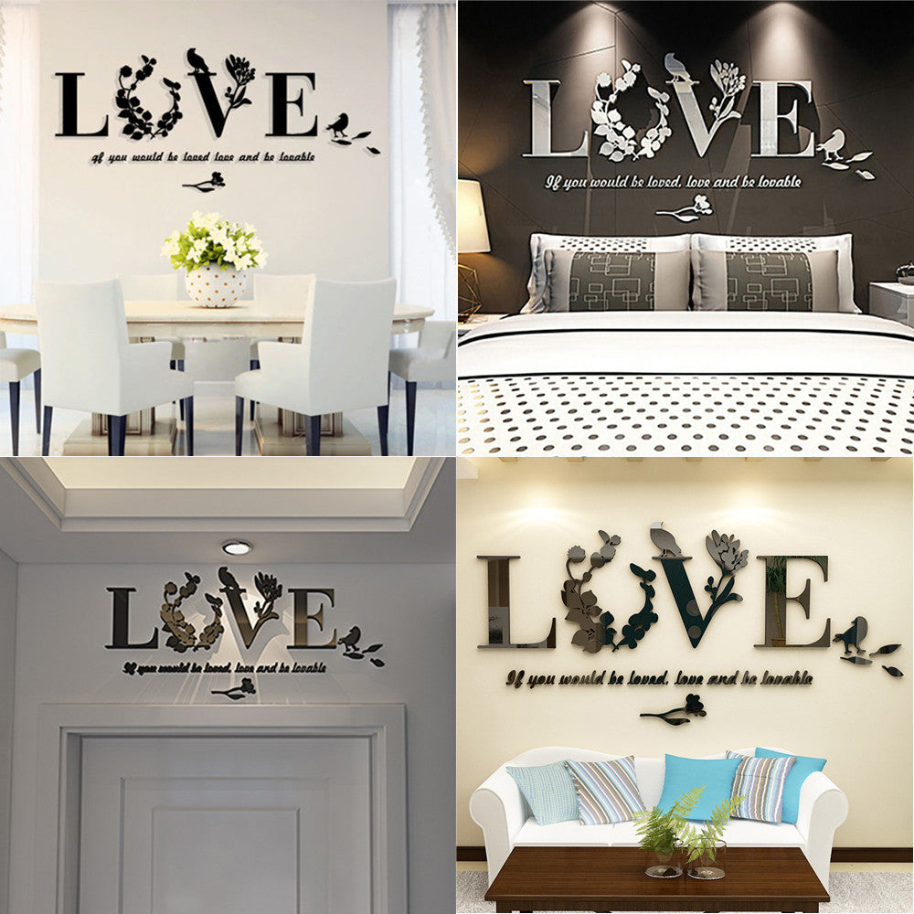 3D Leaf LOVE Wall Stickers Lettering Art Quote Removable Art Home Decor