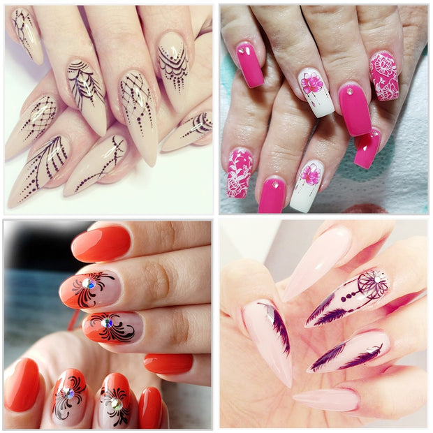 40 PCS Summer Colorful Flower/Feather Designs Nail Art - Toyzor.com