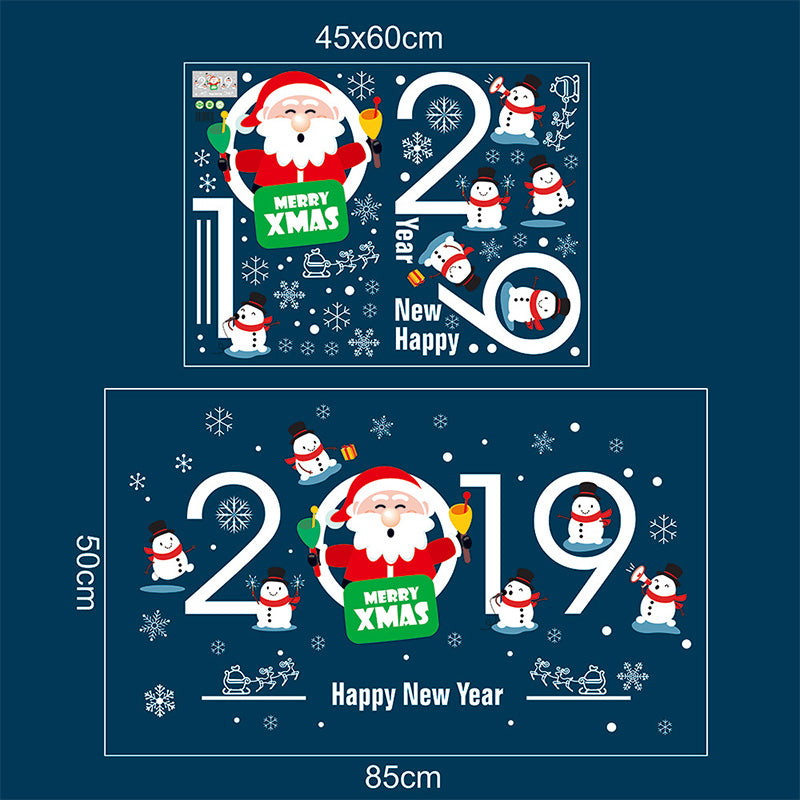 2019 New Year Santa Claus Pull Train Glass Window Christmas Decorations